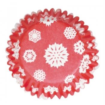 Muffinivormid Punased lumehelvestega 54tk