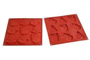 Küpsisevorm silikoonist Jõulud (kuusk, kingipakk, päkapikk)