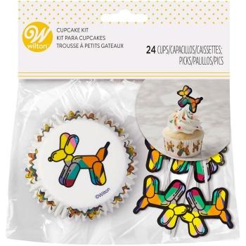 Muffinipaberid õhupallikoerad 24tk +kaunistustikud 24tk