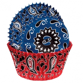 Sinised ja punased mustrilised muffinivormid 75tk