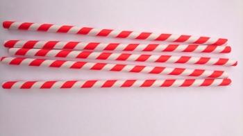 Paberkõrred Punase-valge triibulised suured 20tk