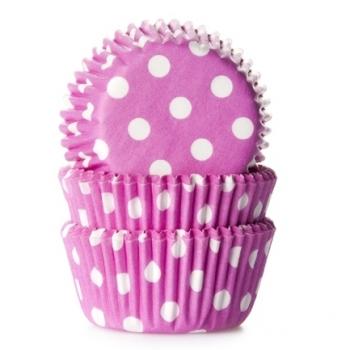 Muffinipaberid mini roosad täpilised  60tk