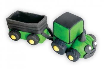 Traktor järelkäruga roheline